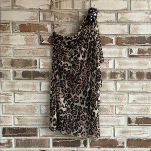 Caché • Leopard One Shoulder Dress Sz 4